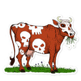 Cow with Skulls Vinyl Bubble-free Vegan stickers + House Of HaHa Best Cool Funniest Funny Gifts
