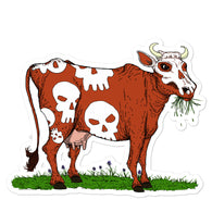 Cow with Skulls Vinyl Bubble-free Vegan stickers + House Of HaHa Best Cool Funniest Funny T-Shirts