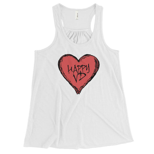 Happy VD Valentines Day Heart STD Holiday Humor Women's Flowy Racerback Tank Top + House Of HaHa