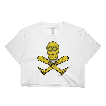 Droid Skull Crossbones Star Wars Pirate Rebels C3PO Parody Short Sleeve Crop Top - Made in USA + House Of HaHa Best Cool Funniest Funny Gifts
