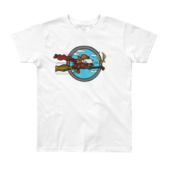 Wizard Flying Ace Youth Short Sleeve T-Shirt - Made in USA + House Of HaHa Best Cool Funniest Funny Gifts