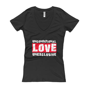 Unconditional Love Unexclusive Family Unity Peace Women's V-Neck T-shirt + House Of HaHa Best Cool Funniest Funny Gifts