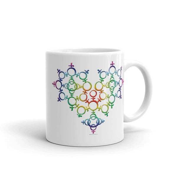 Rainbow Female Gender Venus Symbol Heart Love Unity Mug + House Of HaHa Best Cool Funniest Funny Gifts