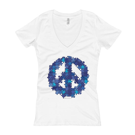 Puzzle Peace Sign Autism Spectrum Asperger Awareness Women's V-Neck T-shirt + House Of HaHa