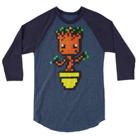 Baby Groot Perler Art 3/4 Sleeve Raglan Shirt by Aubrey Silva + House Of HaHa Best Cool Funniest Funny T-Shirts
