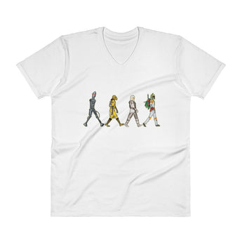 Bounty Road's Fab Four Beatles Star Wars Mash Up Parody V-Neck T-Shirt + House Of HaHa Best Cool Funniest Funny Gifts