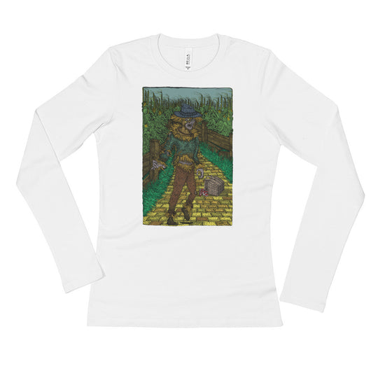 Walkers Of Oz: Zombie Wizard of Oz Cornfield Parody  Ladies' Long Sleeve T-Shirt + House Of HaHa Best Cool Funniest Funny T-Shirts