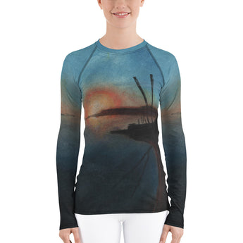 Sand Lake Estuary Sunset Oregon Coast  Dunes ATV Women's Rash Guard + House Of HaHa Best Cool Funniest Funny Gifts