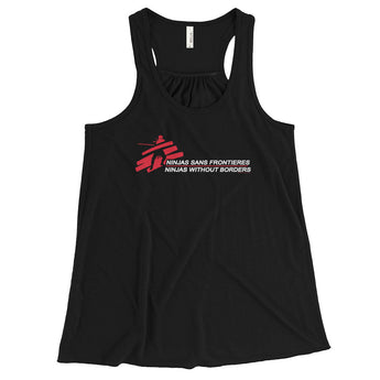 Ninjas without Borders Martial Arts Ninjutsu Fighter Women's Flowy Racerback Tank Top + House Of HaHa Best Cool Funniest Funny Gifts
