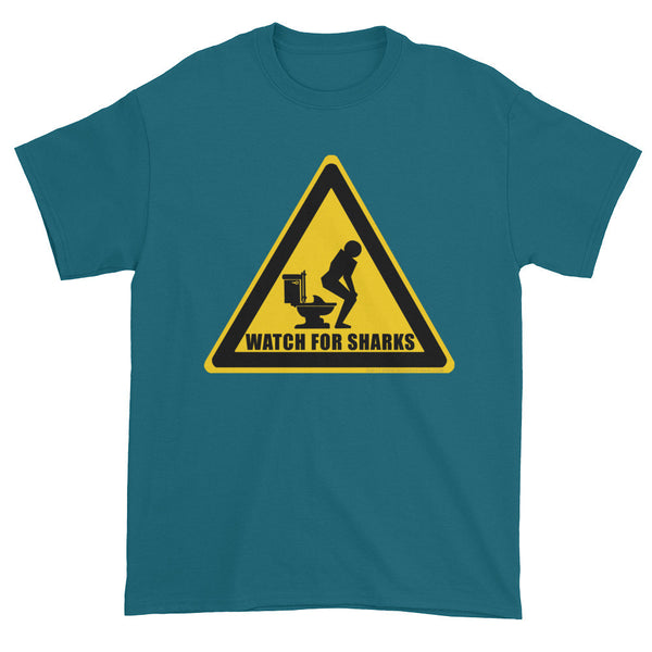 Watch for Sharks in the Toilets Caution Sign Warning Men's Short Sleeve T-Shirt