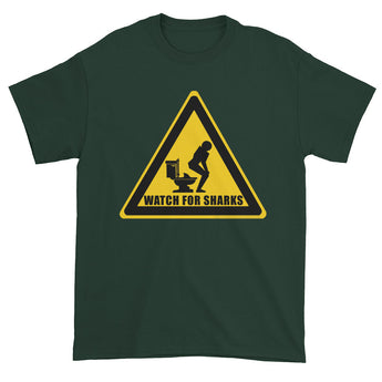 Watch for Sharks in the Toilets Caution Sign Warning Men's Short Sleeve T-Shirt + House Of HaHa Best Cool Funniest Funny Gifts