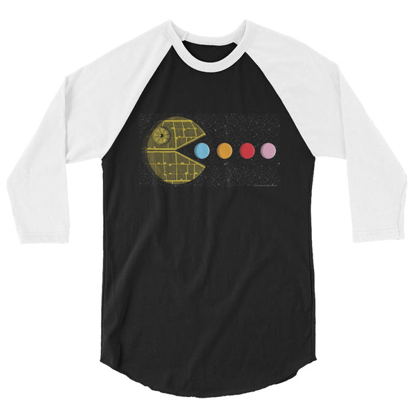 PAC-MOON Death Star Pac-Man Mashup 3/4 sleeve raglan shirt by Aaron Gardy + House Of HaHa Best Cool Funniest Funny Gifts