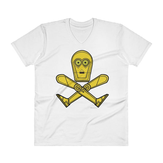 Droid Skull Crossbones Star Wars Pirate Rebels C3PO Parody Men's V-Neck T-Shirt + House Of HaHa Best Cool Funniest Funny T-Shirts