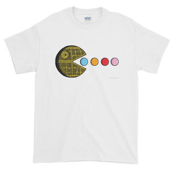 PAC-MOON Death Star Pac-Man Mashup Men's Short-Sleeve T-Shirt by Aaron Gardy + House Of HaHa Best Cool Funniest Funny Gifts