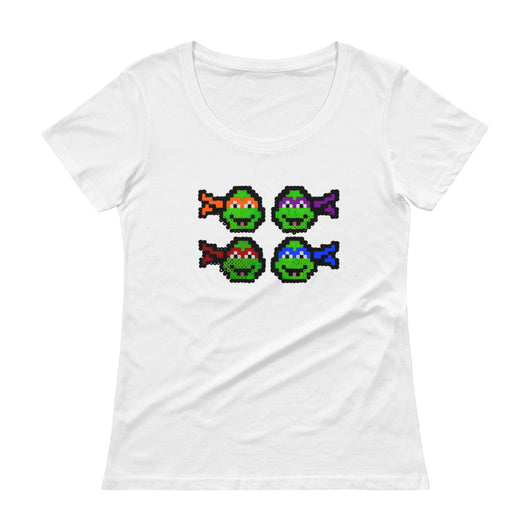 Ninja Turtles Perler Art Ladies' Scoopneck T-Shirt by Aubrey Silva