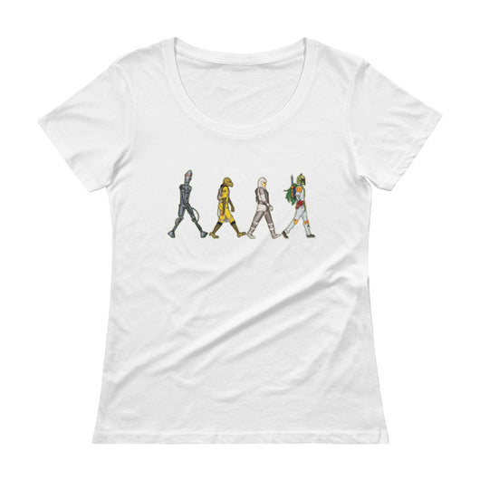 Bounty Road's Fab Four Beatles Star Wars Mash Up Parody Ladies' Scoopneck T-Shirt + House Of HaHa Best Cool Funniest Funny T-Shirts