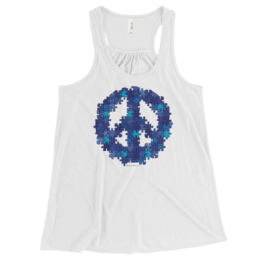Puzzle Peace Sign Autism Spectrum Asperger Awareness Women's Flowy Racerback Tank + House Of HaHa