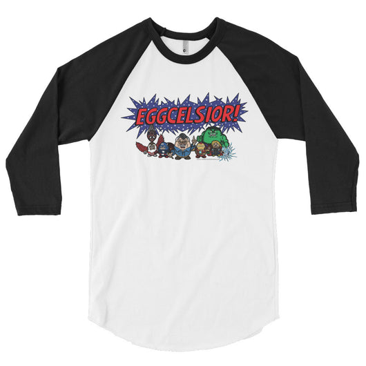 Eggcelsior! Marvel's Avengers Stan Lee Parody Excelsior 3/4 Sleeve Raglan Baseball Tee Shirt + House Of HaHa Best Cool Funniest Funny T-Shirts
