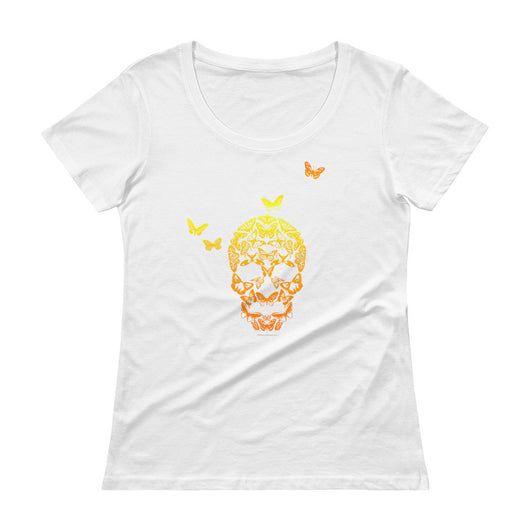 Butterfly Skull Ladies' Scoopneck Women's T-Shirt + House Of HaHa Best Cool Funniest Funny T-Shirts