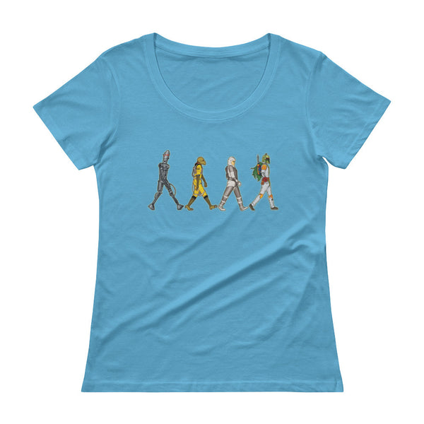 Bounty Road's Fab Four Beatles Star Wars Mash Up Parody Ladies' Scoopneck T-Shirt + House Of HaHa Best Cool Funniest Funny Gifts