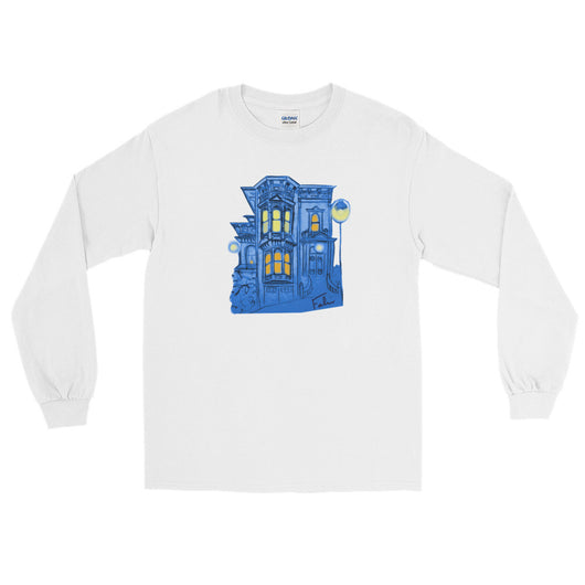 Blue Victorian San Francisco Long Sleeve T-Shirt by Nathalie Fabri + House Of HaHa Best Cool Funniest Funny T-Shirts