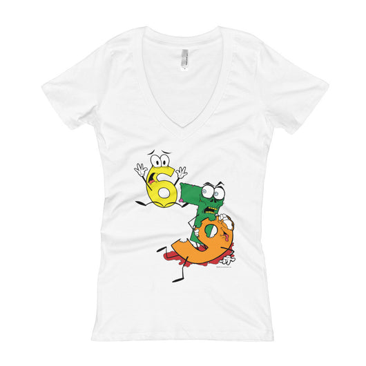 Why was 6 Afraid of 7 Seven Ate Nine Cute Zombie Pun Women's V-Neck T-shirt + House Of HaHa