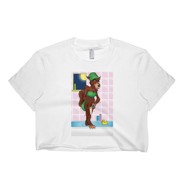 Werewolf Shaving in the Shower Short Sleeve Crop Top + House Of HaHa Best Cool Funniest Funny Gifts