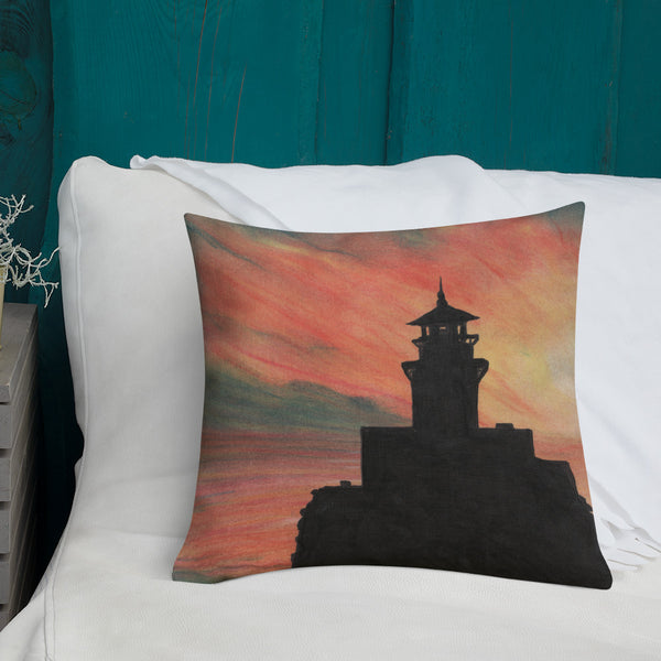 Tillamook Rock Lighthouse Sunset Premium Pillow + House Of HaHa Best Cool Funniest Funny Gifts