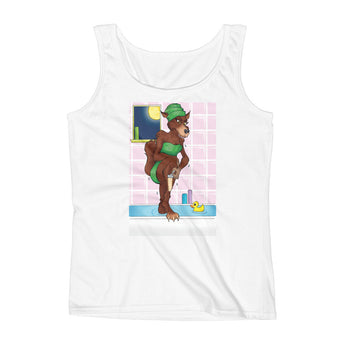 Werewolf Shaving in the Shower Ladies' Tank Top + House Of HaHa Best Cool Funniest Funny Gifts