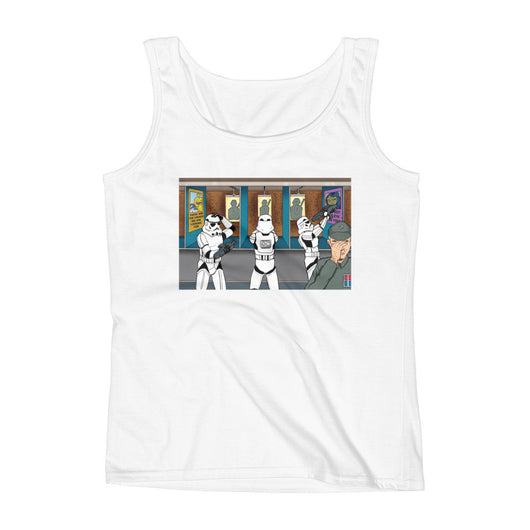 Troopers Shooting Gallery Parody Ladies' Tank Top + House Of HaHa Best Cool Funniest Funny T-Shirts