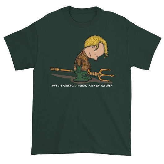 Why's Everybody Always Picking On Me? Men's Short Sleeve Aquaman Charlie Brown Mash-Up T-Shirt + House Of HaHa Best Cool Funniest Funny T-Shirts
