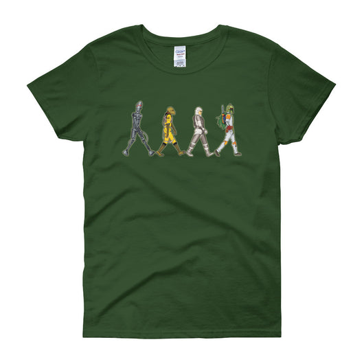 Bounty Road's Fab Four Beatles Star Wars Mash Up Parody Women's Short Sleeve T-Shirt + House Of HaHa