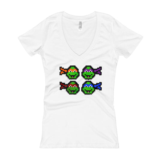 Ninja Turtles Perler Art Women's V-Neck T-shirt by Aubrey Silva
