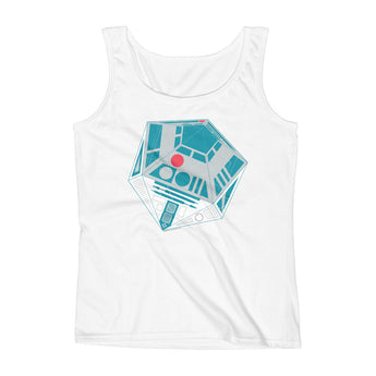R2-D20 Star Wars Twenty Sided Gaming Die Ladies' Tank Top + House Of HaHa Best Cool Funniest Funny Gifts