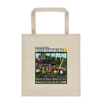 Have A Reasonable Day Camping Across America Tote bag by Aaron Gardy + House Of HaHa Best Cool Funniest Funny Gifts