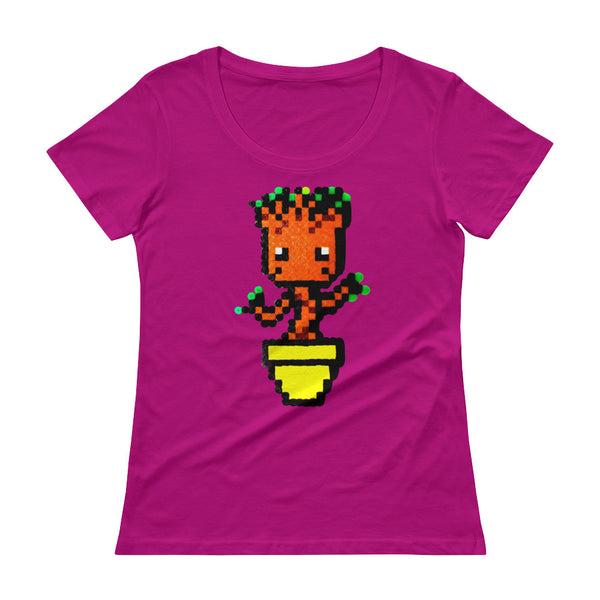 Baby Groot Perler Art Ladies' Scoopneck T-Shirt by Aubrey Silva + House Of HaHa Best Cool Funniest Funny T-Shirts
