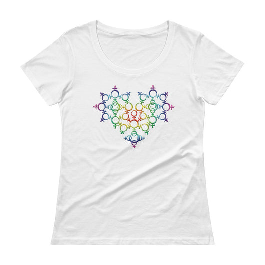 Rainbow Female Gender Venus Symbol Heart Love Unity Ladies' Scoopneck T-Shirt + House Of HaHa