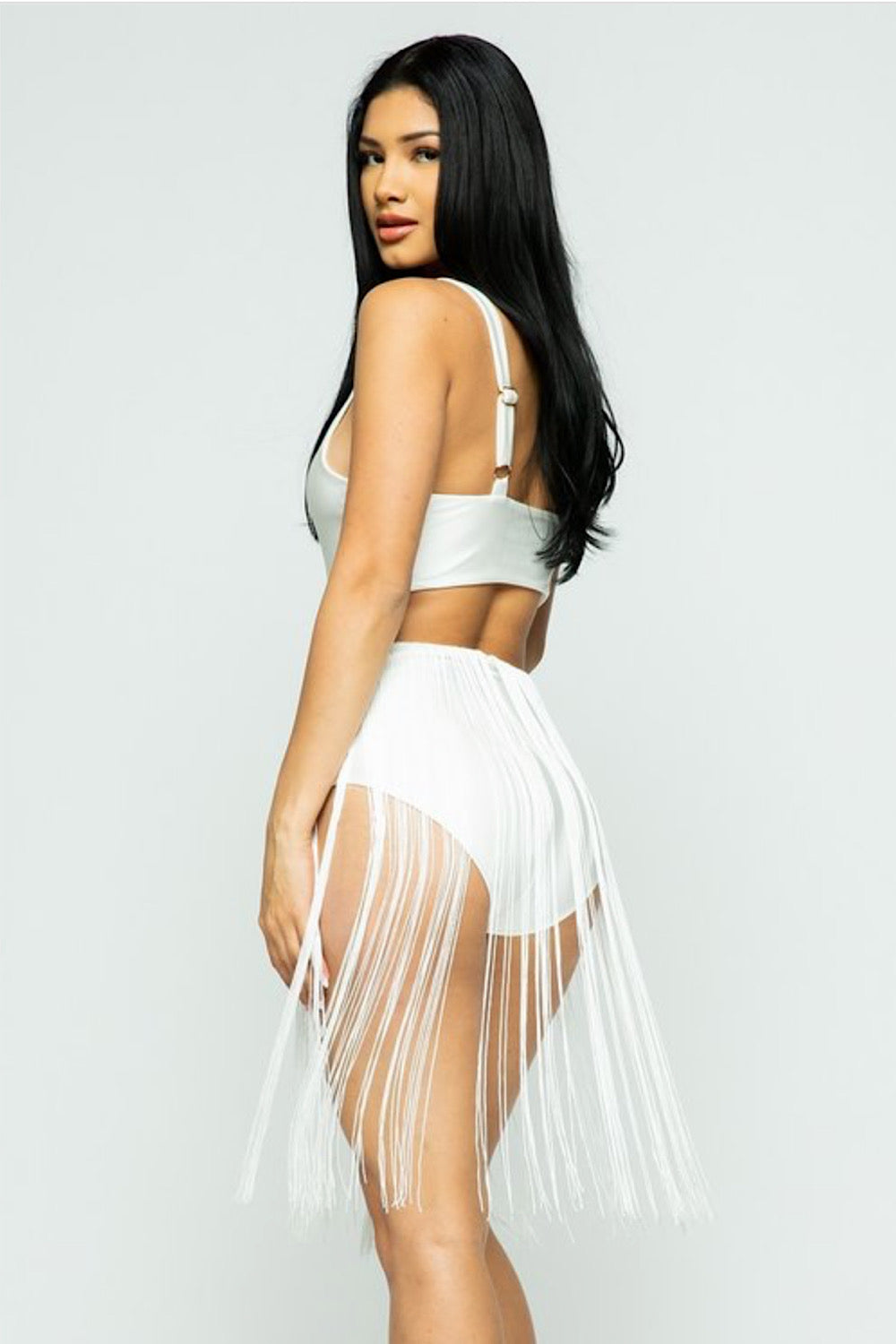 Dare to Bare White Fringe Bodysuit