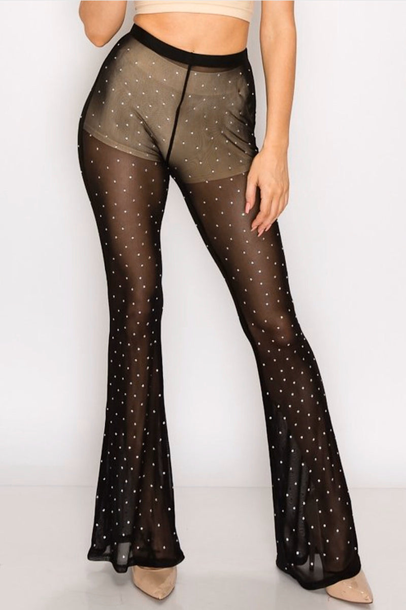 Show Some Flare Mesh Pants- FINAL SALE
