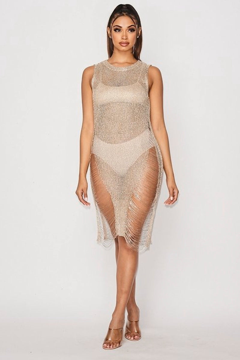 Flip A Coin Sheer Dress - FINAL SALE
