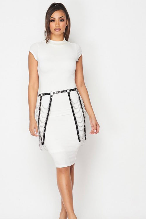 Link Up Black Chain Skirt