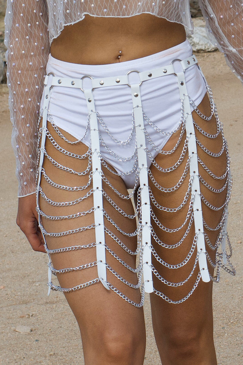 Link Up White Chain Skirt- FINAL SALE