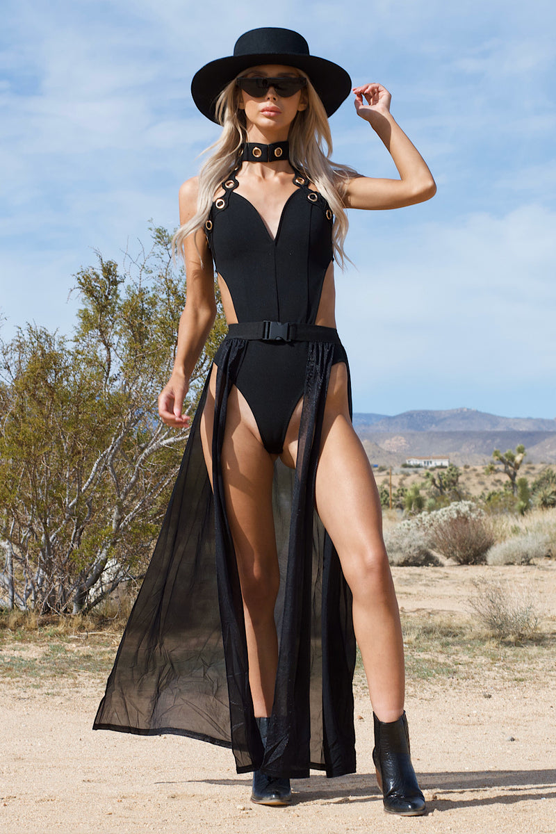 Tied Up ATM Black Bodysuit - FINAL SALE