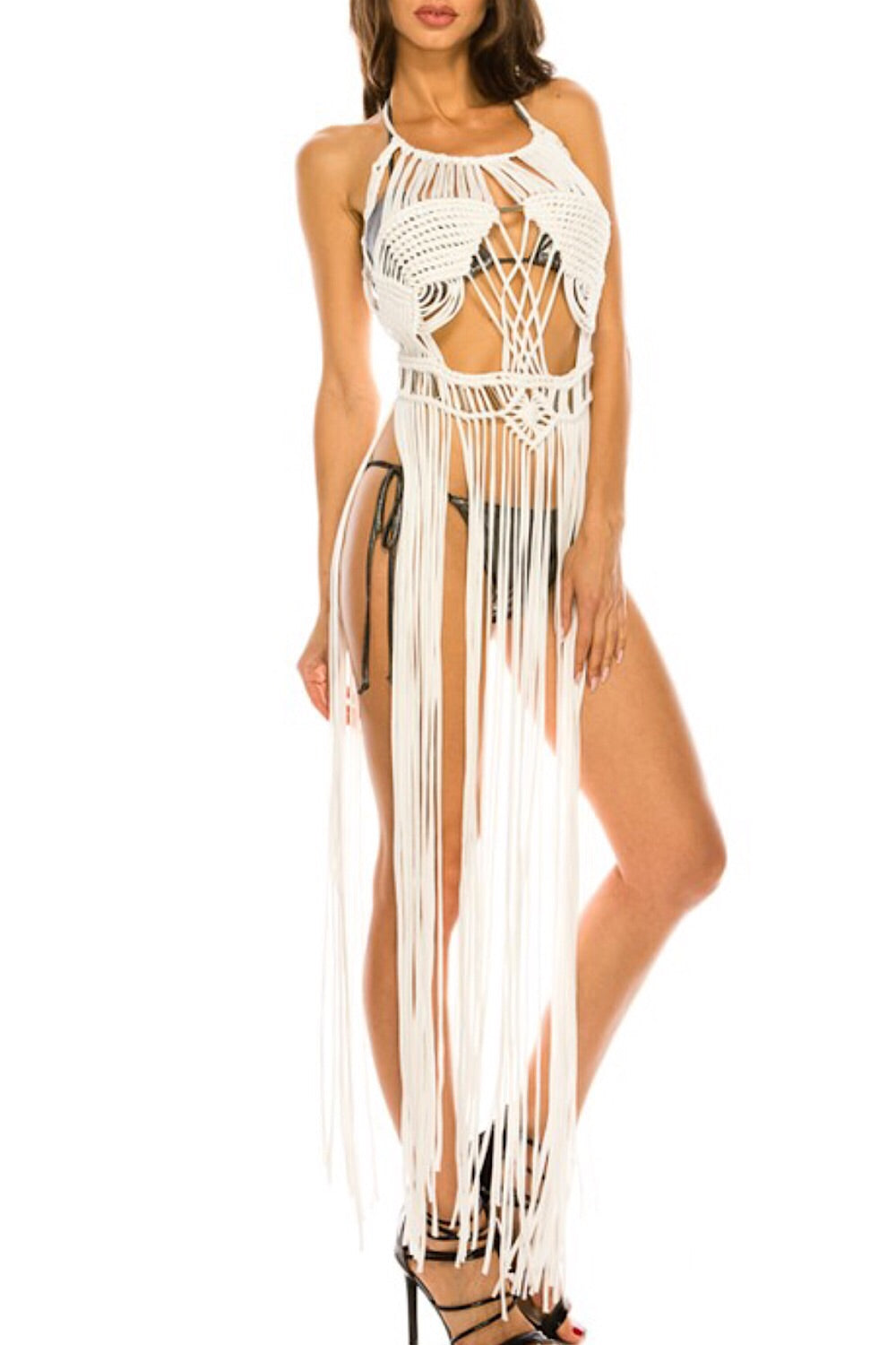 Desert Goddess Fringe Overlay Dress