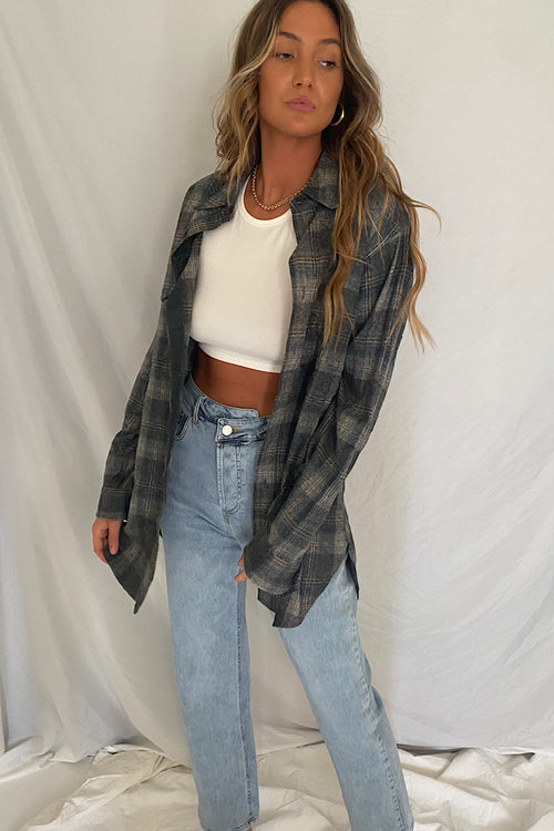 Vintage Plaid Wool Oversized Button Up