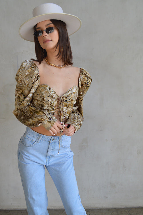 Out to Lunch Python Satin Top