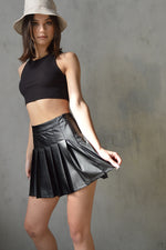After Hours Faux Leather Pleated Tennis Skirt