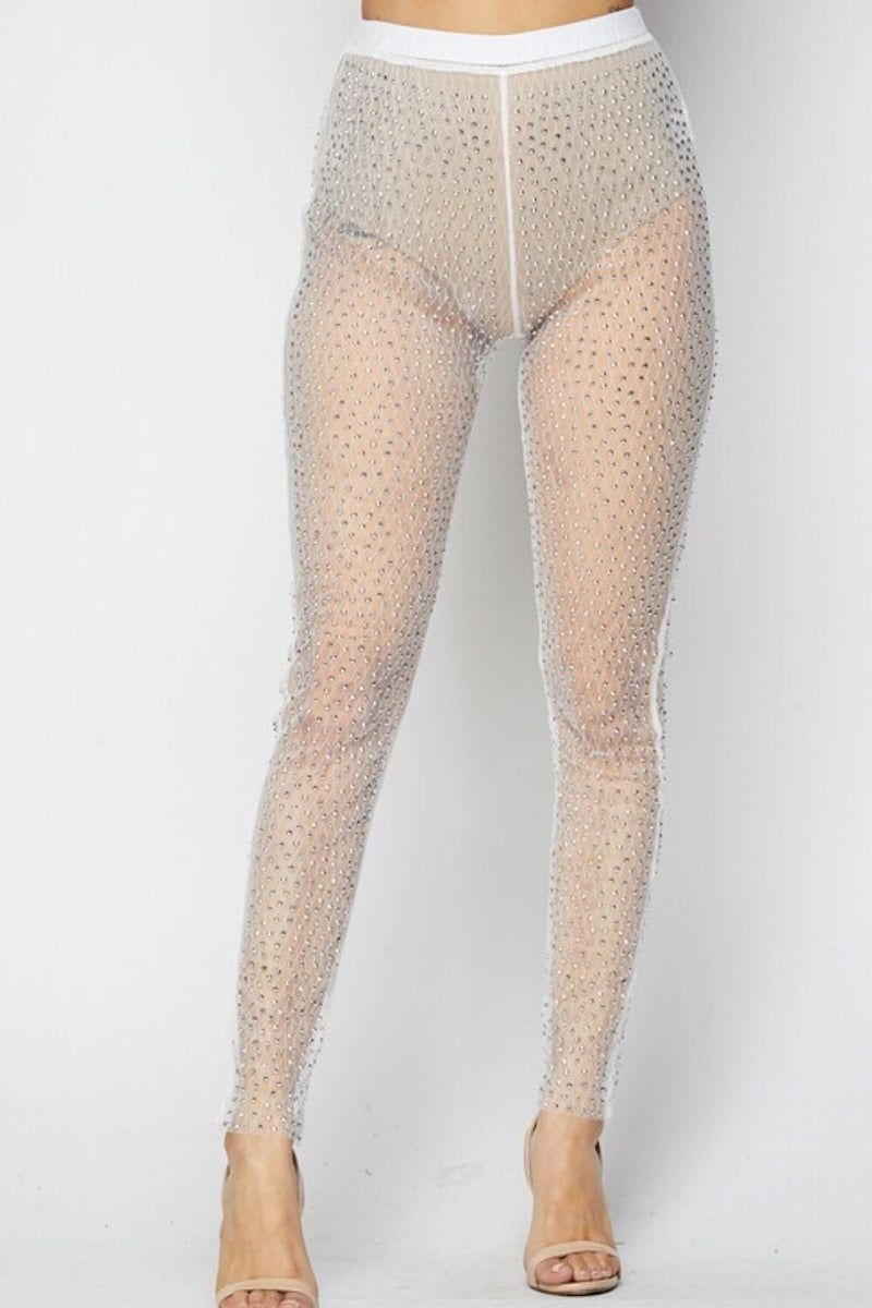 Dusted Diamond Mesh Overlay Pants -FINAL SALE
