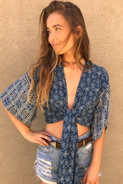 Terracotta Crop Wrap Top