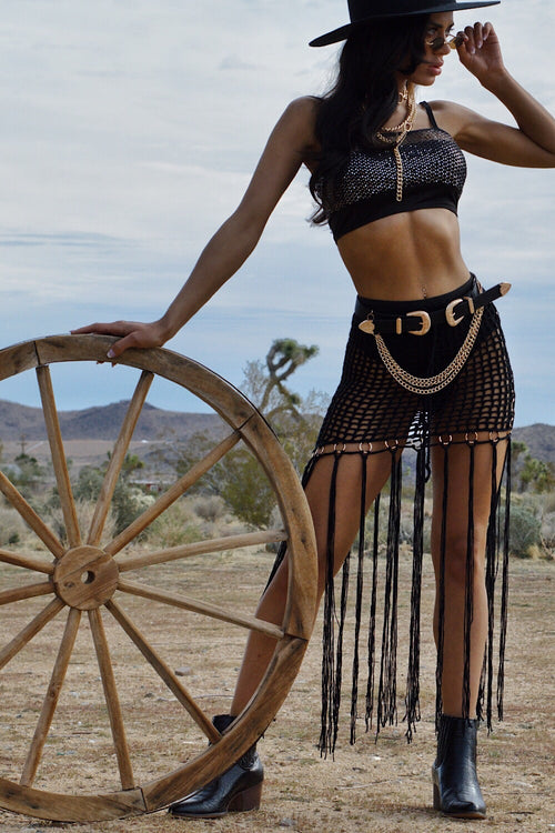 Indio Hills Black Crochet Skirt